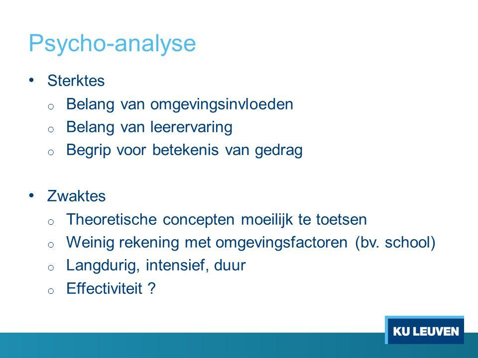 Psycho-analyse Sterktes o Belang van omgevingsinvloeden o Belang van leerervaring o Begrip voor betekenis van gedrag Zwaktes o Theoretische concepten