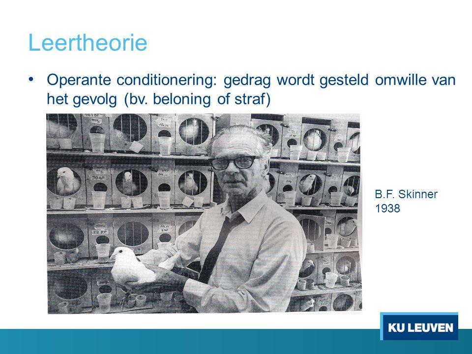 Leertheorie Operante conditionering: gedrag wordt gesteld omwille van het gevolg (bv. beloning of straf) B.F. Skinner 1938