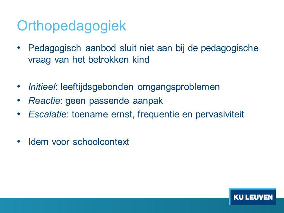 Orthopedagogiek Pedagogisch aanbod sluit niet aan bij de pedagogische vraag van het betrokken kind Initieel: leeftijdsgebonden omgangsproblemen Reactie: geen passende aanpak Escalatie: toename ernst, frequentie en pervasiviteit Idem voor schoolcontext