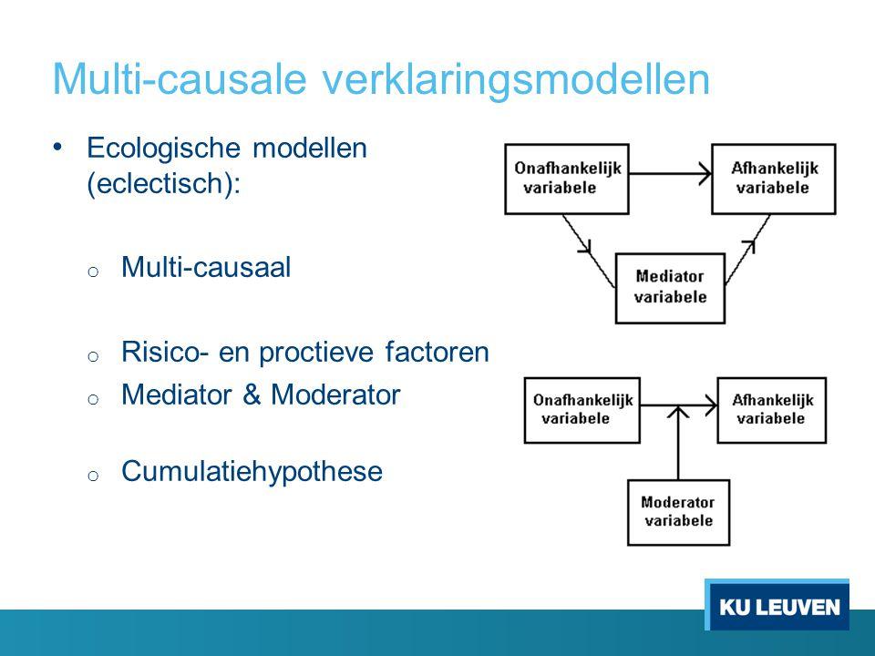 Multi-causale verklaringsmodellen Ecologische modellen (eclectisch): o Multi-causaal o Risico- en proctieve factoren o Mediator & Moderator o Cumulatiehypothese
