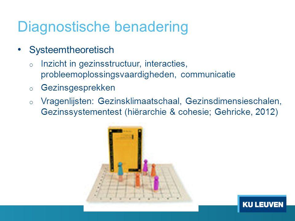 Diagnostische benadering Systeemtheoretisch o Inzicht in gezinsstructuur, interacties, probleemoplossingsvaardigheden, communicatie o Gezinsgesprekken