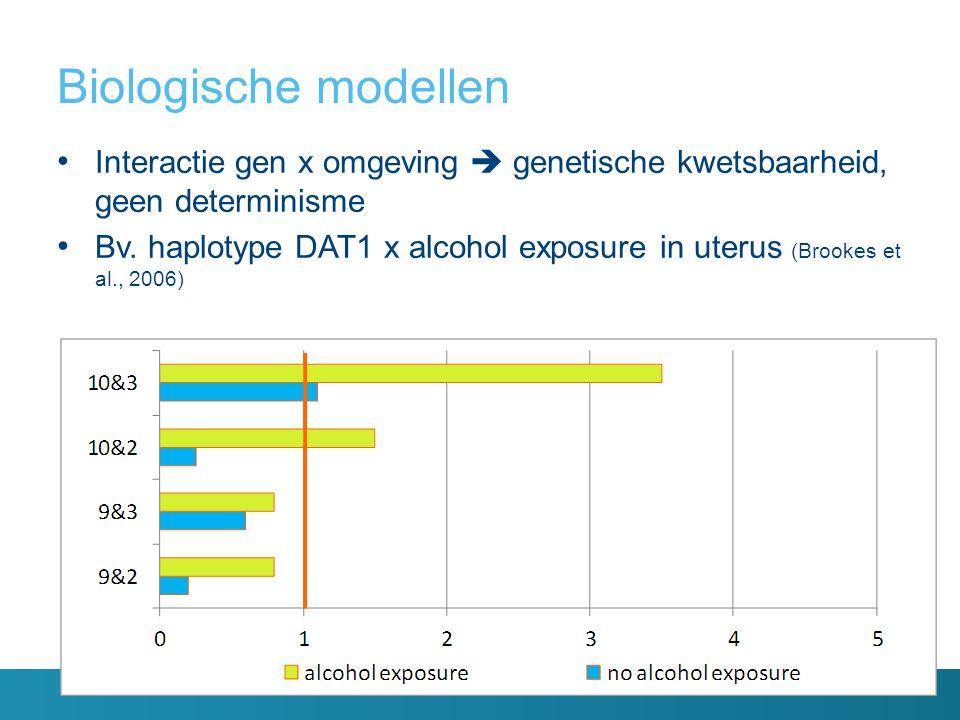 Biologische modellen Interactie gen x omgeving  genetische kwetsbaarheid, geen determinisme Bv. haplotype DAT1 x alcohol exposure in uterus (Brookes