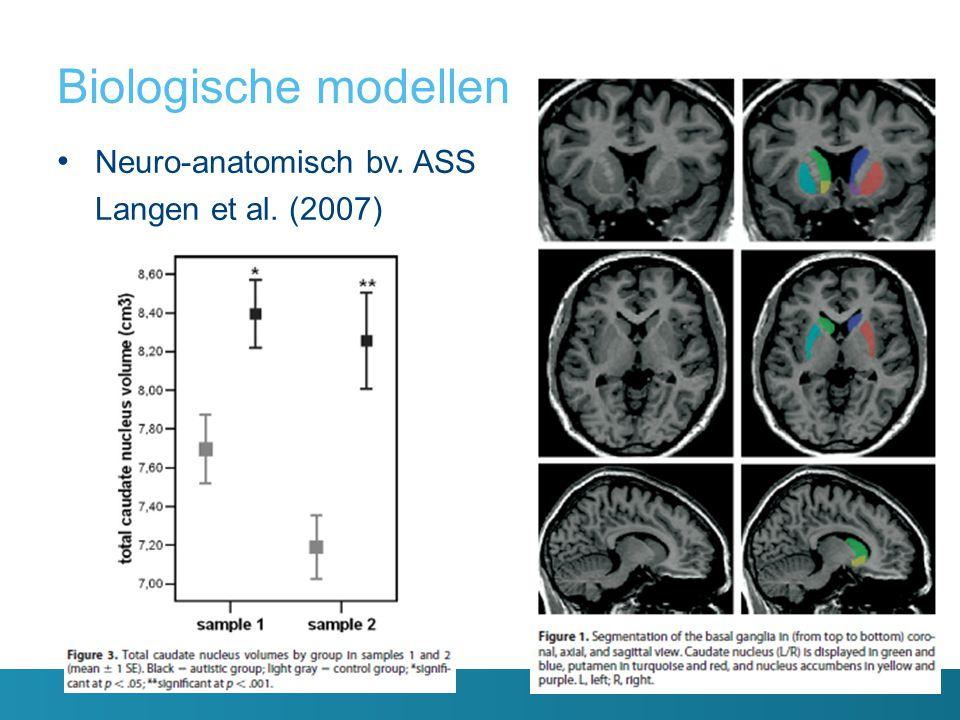 Biologische modellen Neuro-anatomisch bv. ASS Langen et al. (2007)