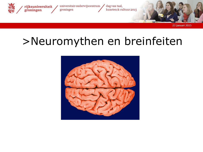 23 januari 2015 universitair onderwijscentrum groningen dag van taal, kunsten & cultuur 2015 >Neuromythen en breinfeiten