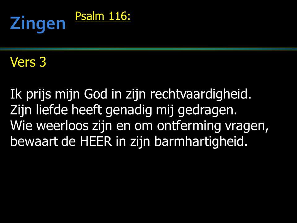 Vers 3 Ik prijs mijn God in zijn rechtvaardigheid. Zijn liefde heeft genadig mij gedragen. Wie weerloos zijn en om ontferming vragen, bewaart de HEER