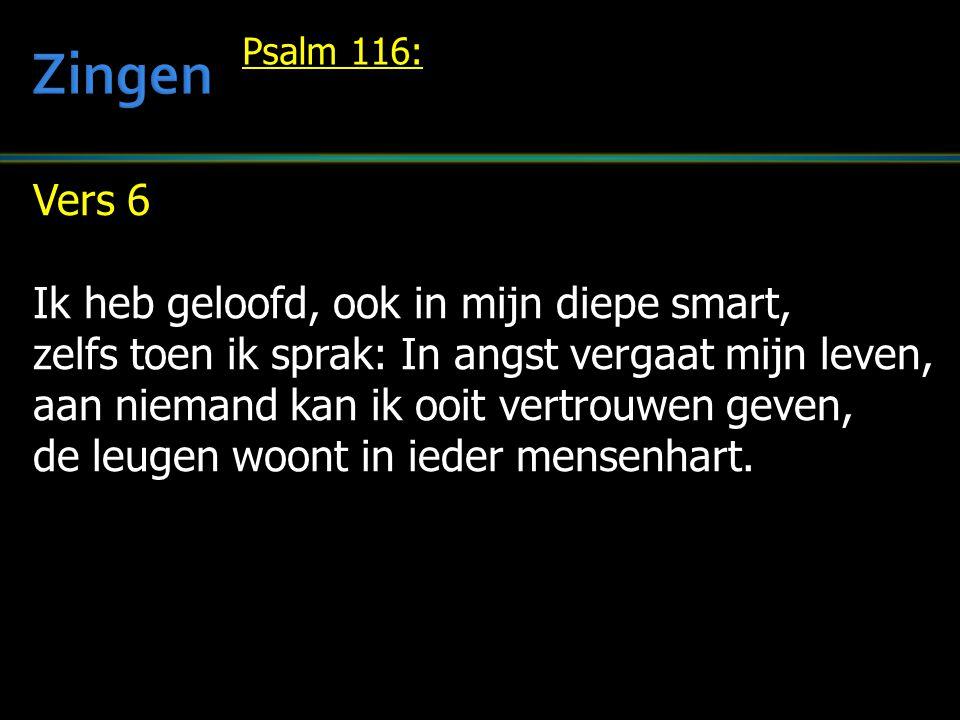 Vers 6 Ik heb geloofd, ook in mijn diepe smart, zelfs toen ik sprak: In angst vergaat mijn leven, aan niemand kan ik ooit vertrouwen geven, de leugen