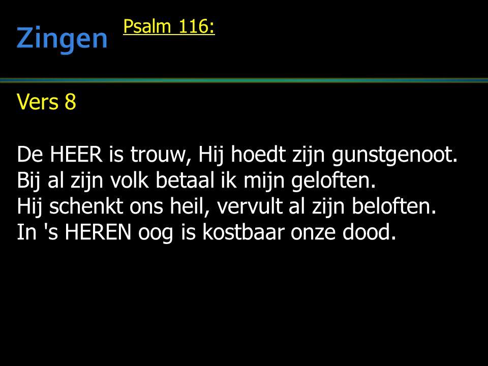 Vers 8 De HEER is trouw, Hij hoedt zijn gunstgenoot. Bij al zijn volk betaal ik mijn geloften. Hij schenkt ons heil, vervult al zijn beloften. In 's H
