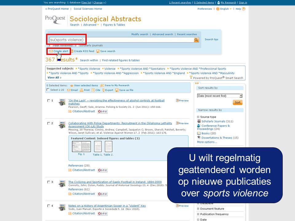 U wilt regelmatig geattendeerd worden op nieuwe publicaties over sports violence