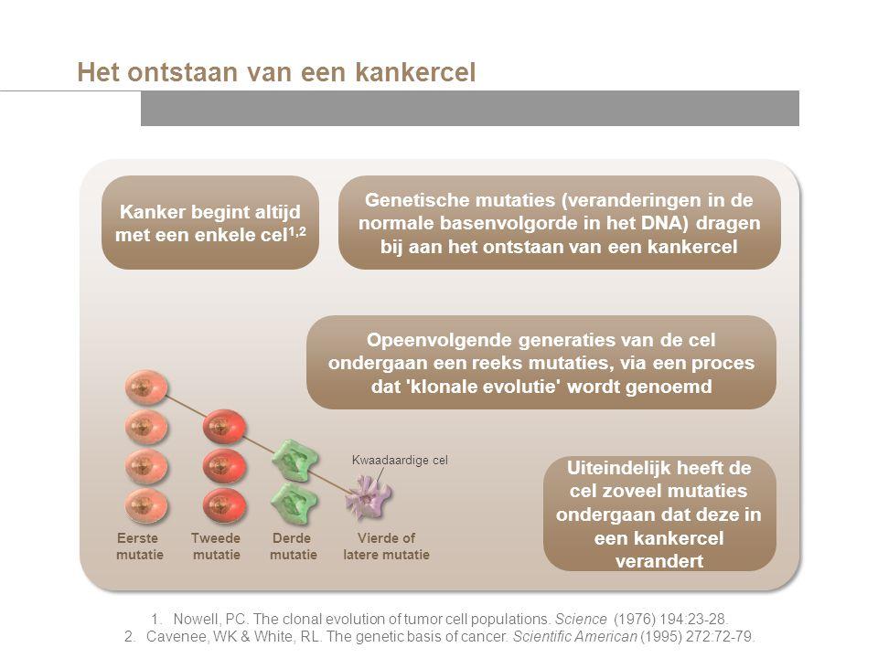 Het ontstaan van een kankercel Kwaadaardige cel Kanker begint altijd met een enkele cel 1,2 Opeenvolgende generaties van de cel ondergaan een reeks mu