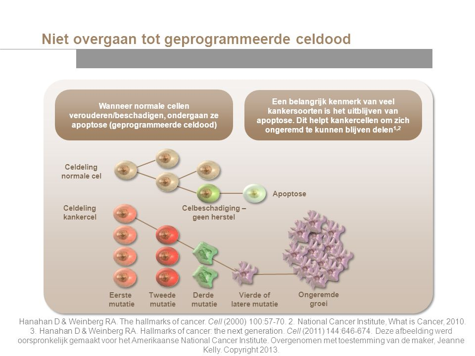 Niet overgaan tot geprogrammeerde celdood Hanahan D & Weinberg RA. The hallmarks of cancer. Cell (2000) 100:57-70. 2. National Cancer Institute, What