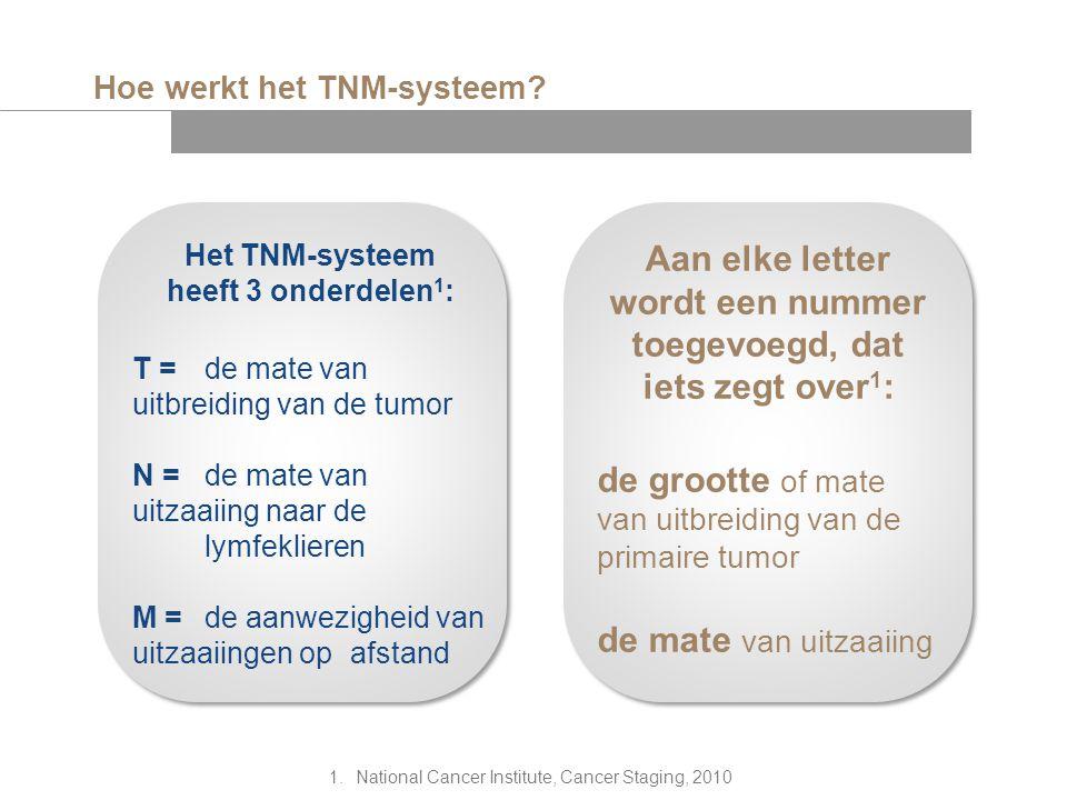 Hoe werkt het TNM-systeem? Het TNM-systeem heeft 3 onderdelen 1 : T = de mate van uitbreiding van de tumor N = de mate van uitzaaiing naar de lymfekli
