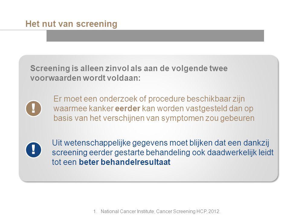 Het nut van screening Screening is alleen zinvol als aan de volgende twee voorwaarden wordt voldaan: Er moet een onderzoek of procedure beschikbaar zi