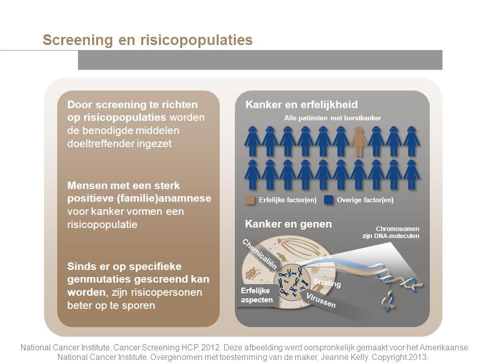 Kanker en erfelijkheid Screening en risicopopulaties Door screening te richten op risicopopulaties worden de benodigde middelen doeltreffender ingezet