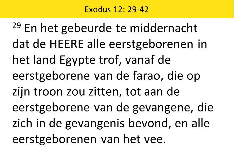 Exodus 12: 29-42 29 En het gebeurde te middernacht dat de HEERE alle eerstgeborenen in het land Egypte trof, vanaf de eerstgeborene van de farao, die