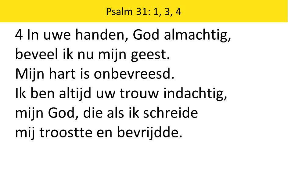Psalm 31: 1, 3, 4 4 In uwe handen, God almachtig, beveel ik nu mijn geest. Mijn hart is onbevreesd. Ik ben altijd uw trouw indachtig, mijn God, die al
