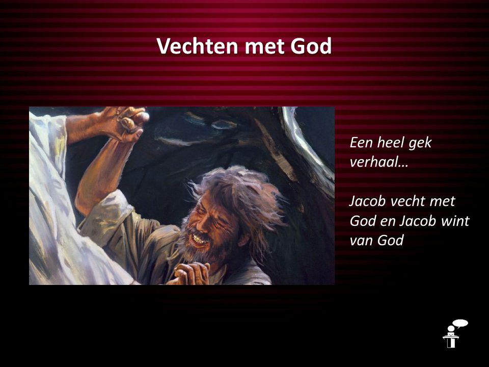 Zonder worsteling geen beloofde land Soms zoek je als mens de confrontatie met God, maar hier is het God die de confrontatie zoekt met Jacob Wat moet er met jou gebeuren, wat moet jij afleren, voordat jij het beloofde land in kunt?