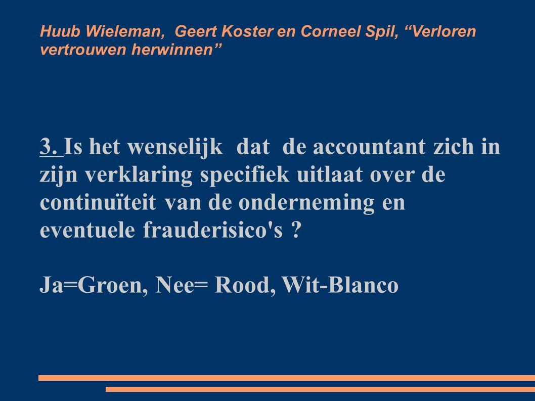 Huub Wieleman, Geert Koster en Corneel Spil, Verloren vertrouwen herwinnen 4.