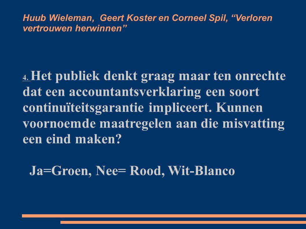 Huub Wieleman, Geert Koster en Corneel Spil, Verloren vertrouwen herwinnen 5.
