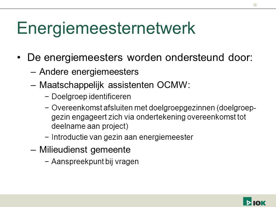Energiemeesternetwerk De energiemeesters worden ondersteund door: –Andere energiemeesters –Maatschappelijk assistenten OCMW: −Doelgroep identificeren