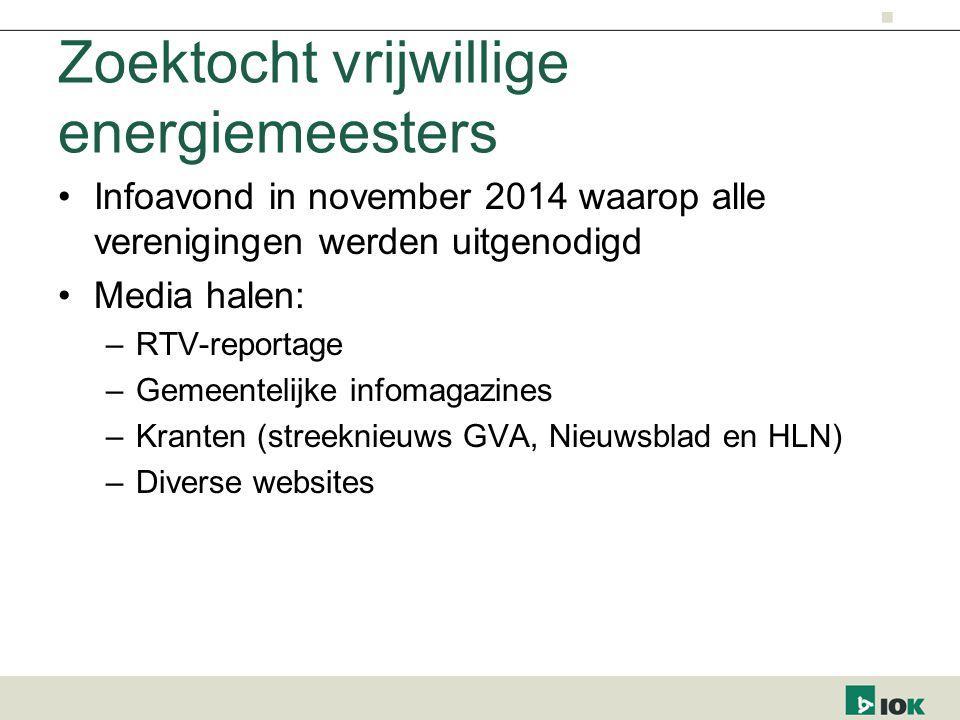 Zoektocht vrijwillige energiemeesters Infoavond in november 2014 waarop alle verenigingen werden uitgenodigd Media halen: –RTV-reportage –Gemeentelijk