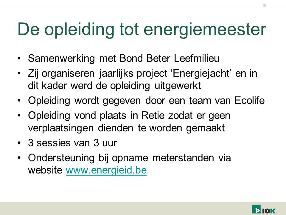 De opleiding tot energiemeester Samenwerking met Bond Beter Leefmilieu Zij organiseren jaarlijks project 'Energiejacht' en in dit kader werd de opleid