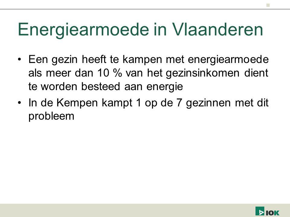 Energiearmoede in Vlaanderen Een gezin heeft te kampen met energiearmoede als meer dan 10 % van het gezinsinkomen dient te worden besteed aan energie In de Kempen kampt 1 op de 7 gezinnen met dit probleem