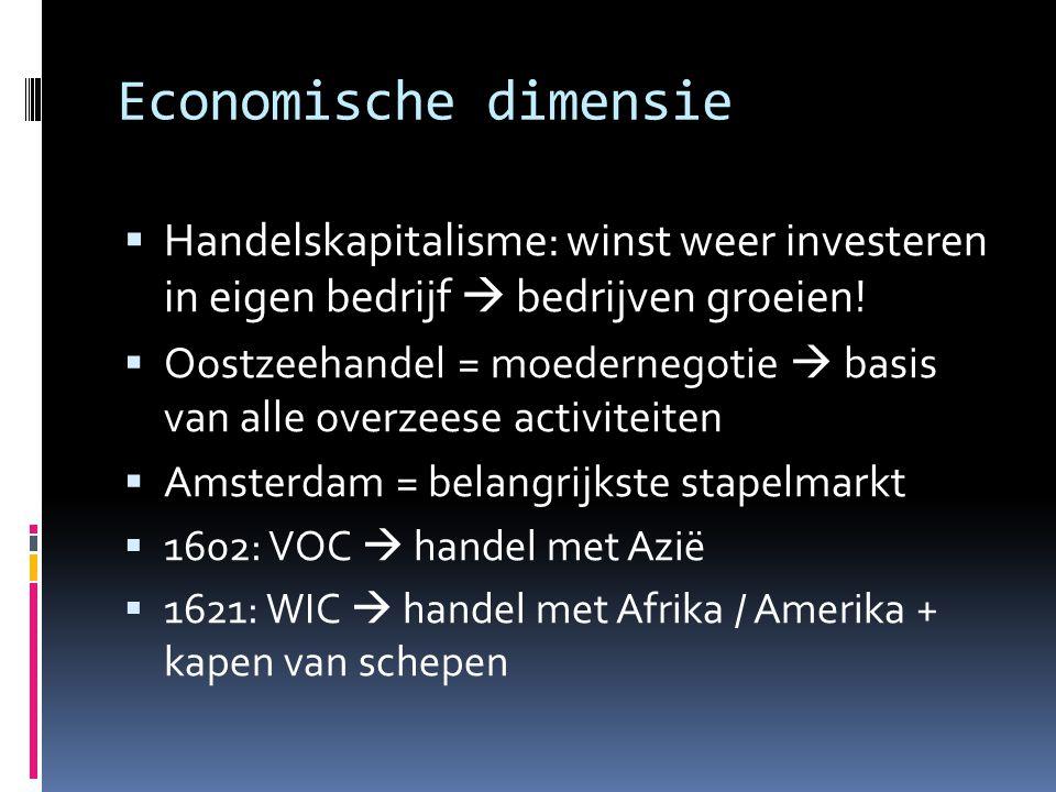 Economische dimensie  Handelskapitalisme: winst weer investeren in eigen bedrijf  bedrijven groeien!  Oostzeehandel = moedernegotie  basis van all