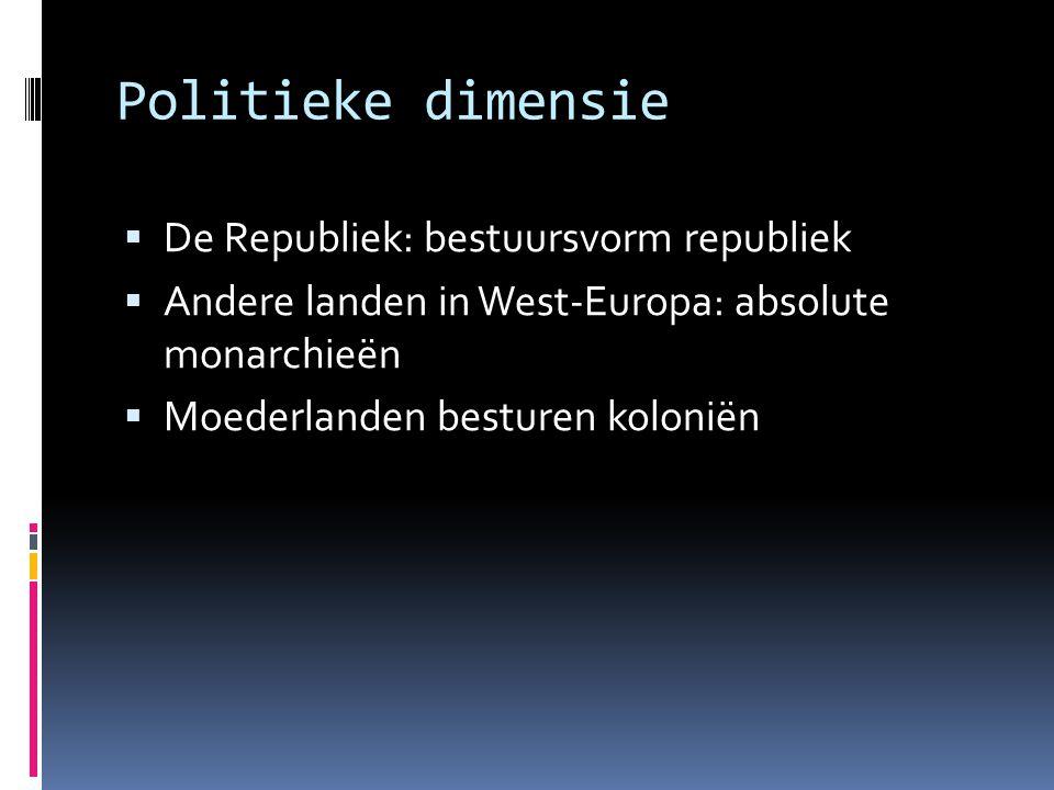 Politieke dimensie  De Republiek: bestuursvorm republiek  Andere landen in West-Europa: absolute monarchieën  Moederlanden besturen koloniën