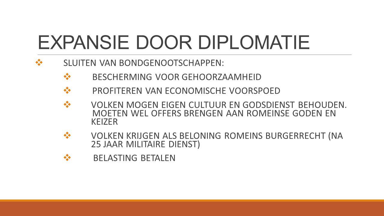 EXPANSIE DOOR DIPLOMATIE  SLUITEN VAN BONDGENOOTSCHAPPEN:  BESCHERMING VOOR GEHOORZAAMHEID  PROFITEREN VAN ECONOMISCHE VOORSPOED  VOLKEN MOGEN EIG