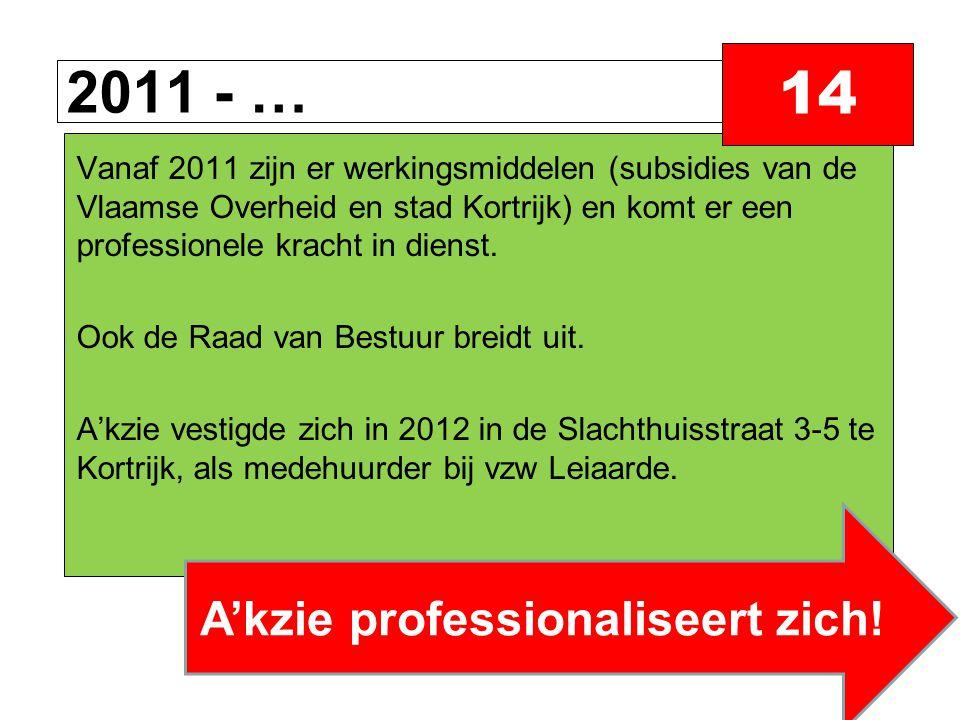 2011 - … 14 Vanaf 2011 zijn er werkingsmiddelen (subsidies van de Vlaamse Overheid en stad Kortrijk) en komt er een professionele kracht in dienst.