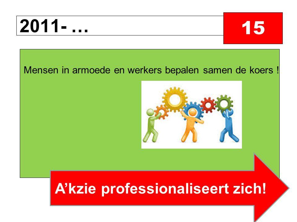 2011- … 15 Mensen in armoede en werkers bepalen samen de koers ! A'kzie professionaliseert zich!