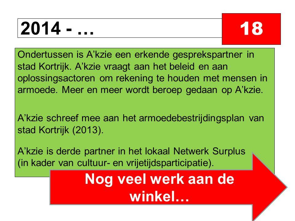 2014 - … 18 Ondertussen is A'kzie een erkende gesprekspartner in stad Kortrijk.