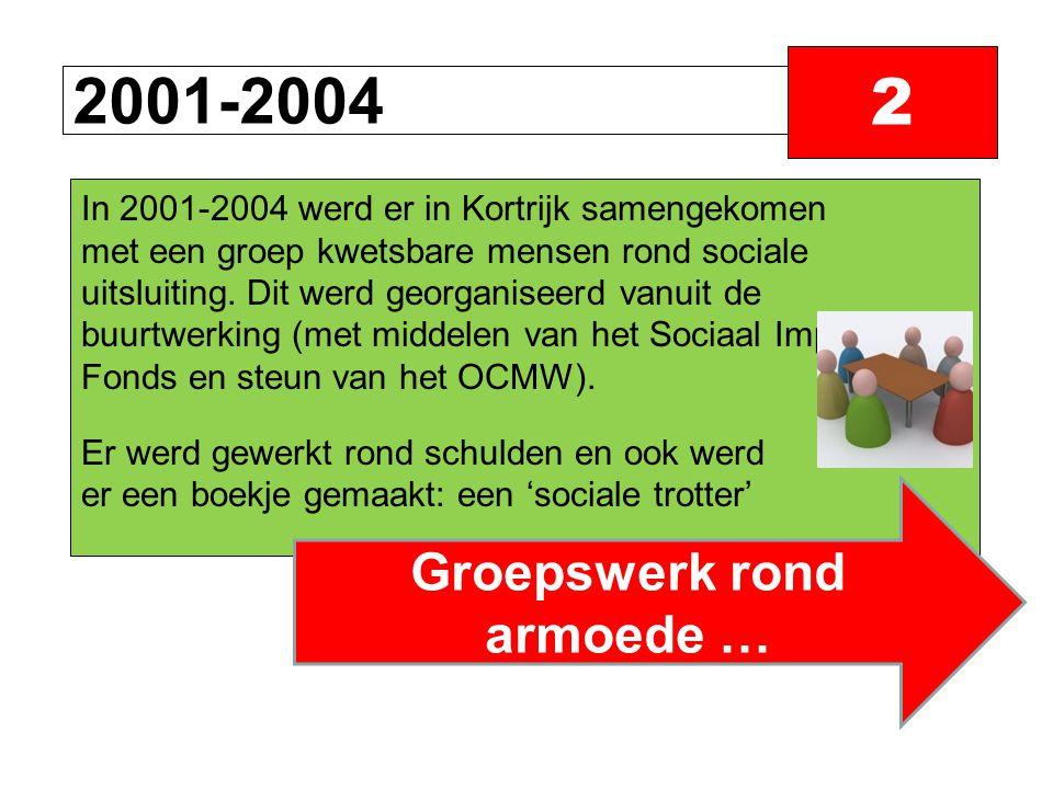 2001-2004 2 In 2001-2004 werd er in Kortrijk samengekomen met een groep kwetsbare mensen rond sociale uitsluiting.