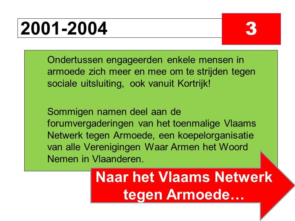 2001-2004 3 Ondertussen engageerden enkele mensen in armoede zich meer en mee om te strijden tegen sociale uitsluiting, ook vanuit Kortrijk.