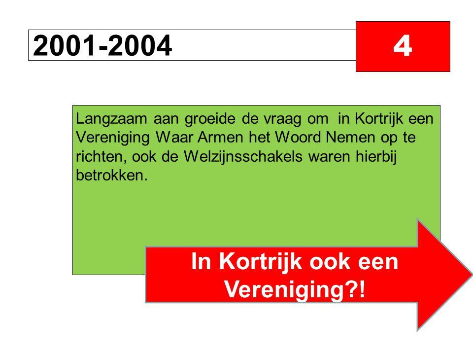 2001-2004 4 Langzaam aan groeide de vraag om in Kortrijk een Vereniging Waar Armen het Woord Nemen op te richten, ook de Welzijnsschakels waren hierbij betrokken.