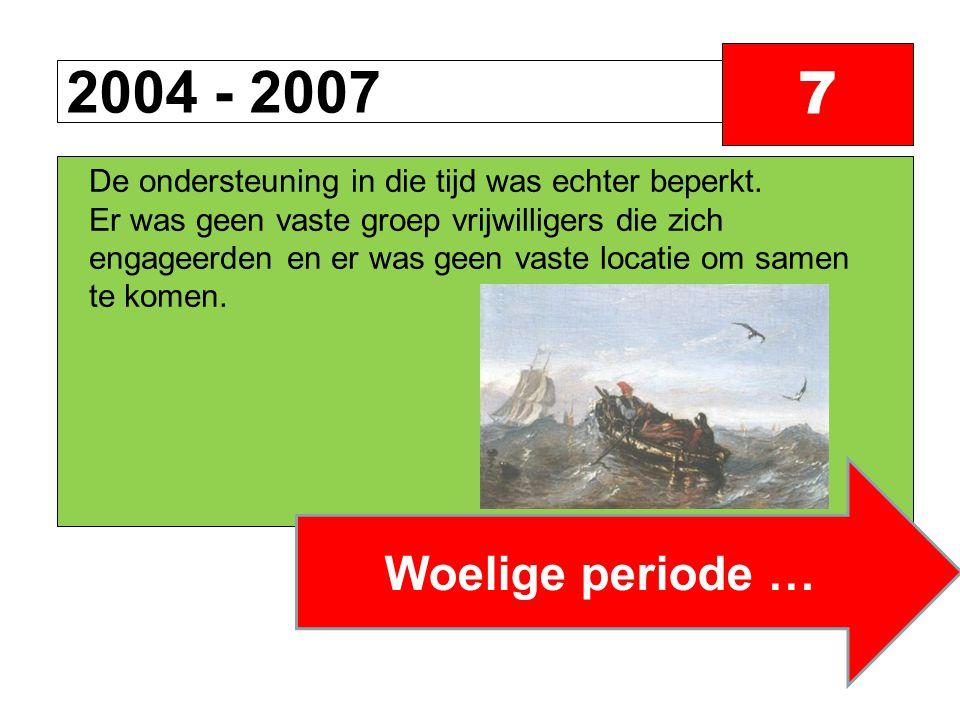 2004 - 2007 7 Woelige periode … De ondersteuning in die tijd was echter beperkt.