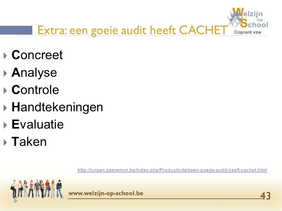  Concreet  Analyse  Controle  Handtekeningen  Evaluatie  Taken http://jurgen.gaeremyn.be/index.php/Productiviteit/een-goede-audit-heeft-cachet.h