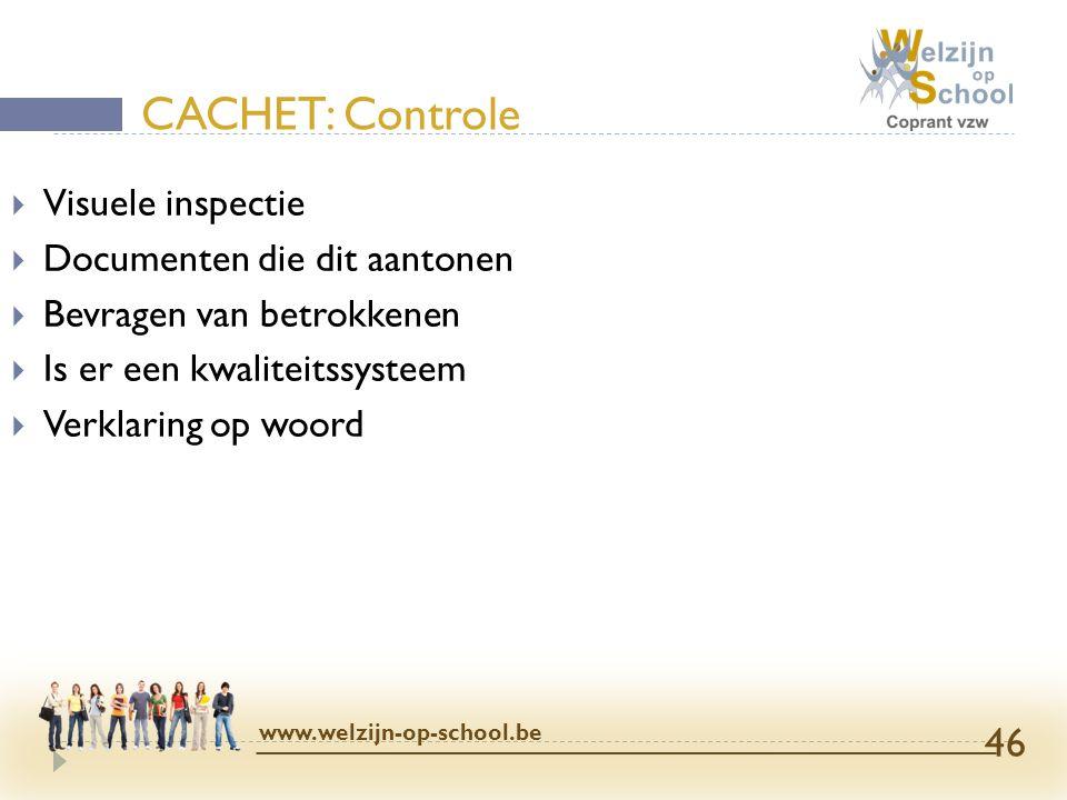  Visuele inspectie  Documenten die dit aantonen  Bevragen van betrokkenen  Is er een kwaliteitssysteem  Verklaring op woord CACHET: Controle www.