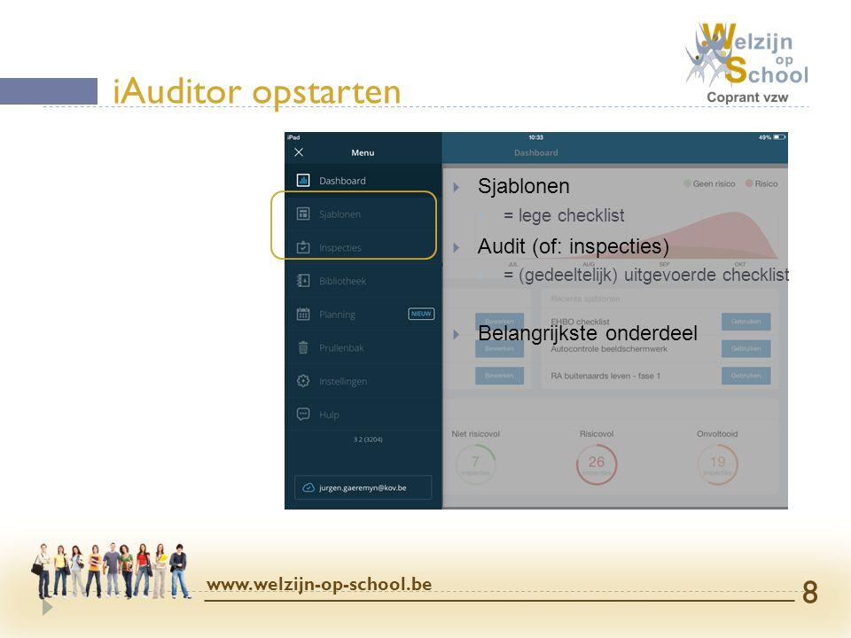  Sjablonen  = lege checklist  Audit (of: inspecties)  = (gedeeltelijk) uitgevoerde checklist  Belangrijkste onderdeel iAuditor opstarten www.welz