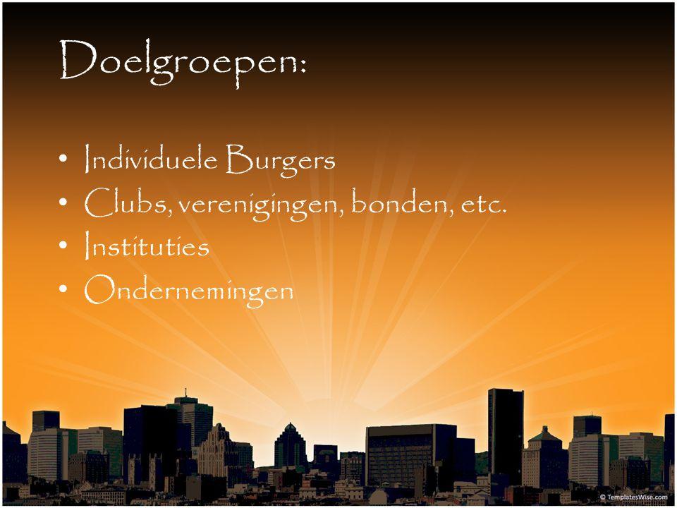 Doelgroepen: Individuele Burgers Clubs, verenigingen, bonden, etc. Instituties Ondernemingen