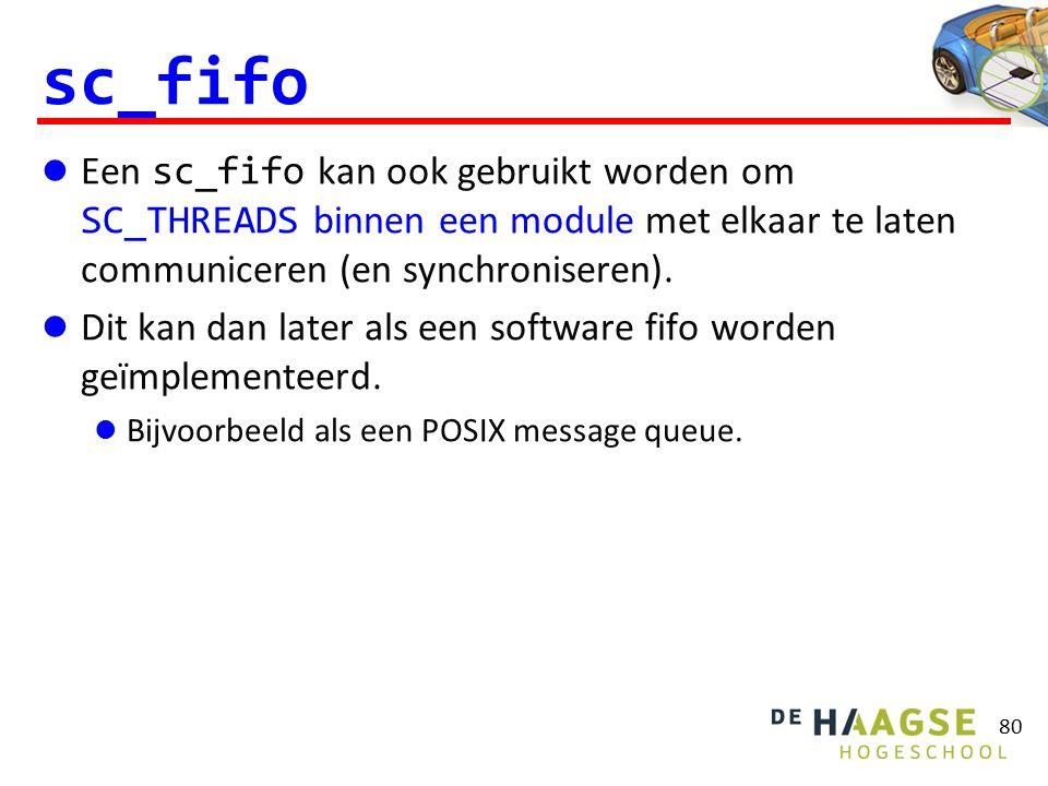 sc_fifo Een sc_fifo kan ook gebruikt worden om SC_THREADS binnen een module met elkaar te laten communiceren (en synchroniseren). Dit kan dan later al