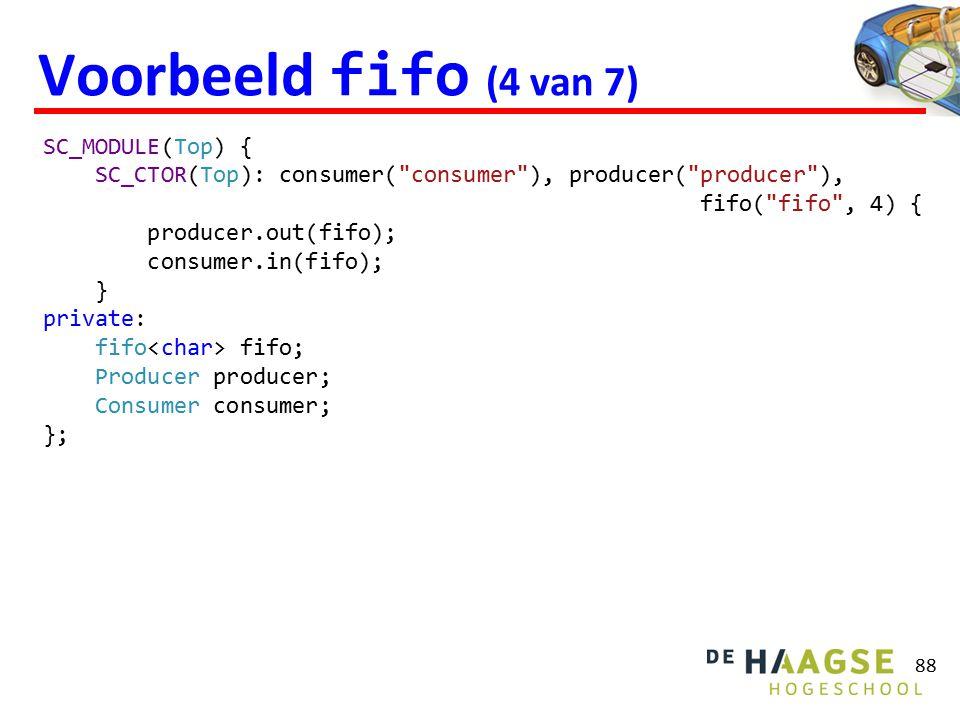 Voorbeeld fifo (4 van 7) 88 SC_MODULE(Top) { SC_CTOR(Top): consumer(