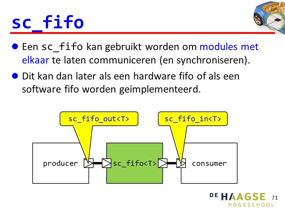 sc_fifo Een sc_fifo kan gebruikt worden om modules met elkaar te laten communiceren (en synchroniseren). Dit kan dan later als een hardware fifo of al