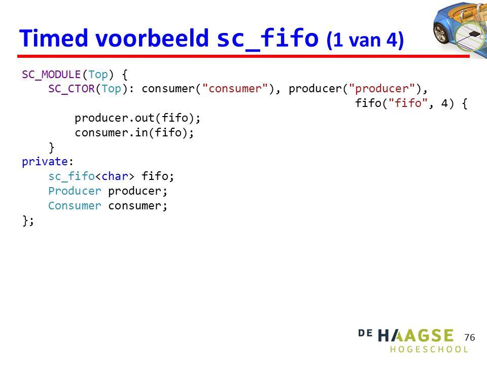 Timed voorbeeld sc_fifo (1 van 4) 76 SC_MODULE(Top) { SC_CTOR(Top): consumer(