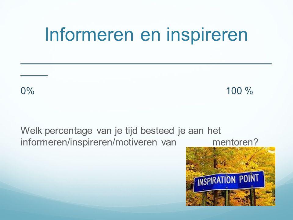 Informeren en inspireren ______________________________________________ _____ 0%100 % Welk percentage van je tijd besteed je aan het informeren/inspireren/motiveren van mentoren