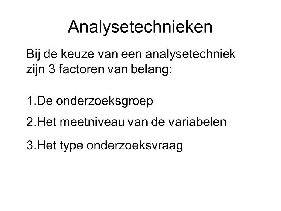 Analysetechnieken Bij de keuze van een analysetechniek zijn 3 factoren van belang: 3.Het type onderzoeksvraag 1.De onderzoeksgroep 2.Het meetniveau va