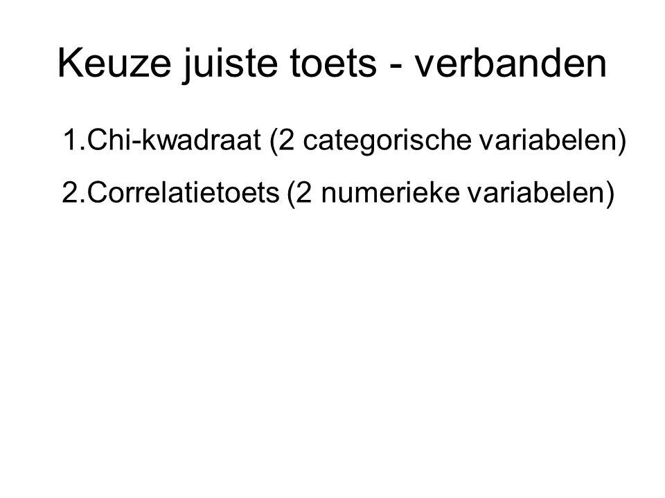 Keuze juiste toets - verbanden 1.Chi-kwadraat (2 categorische variabelen) 2.Correlatietoets (2 numerieke variabelen)