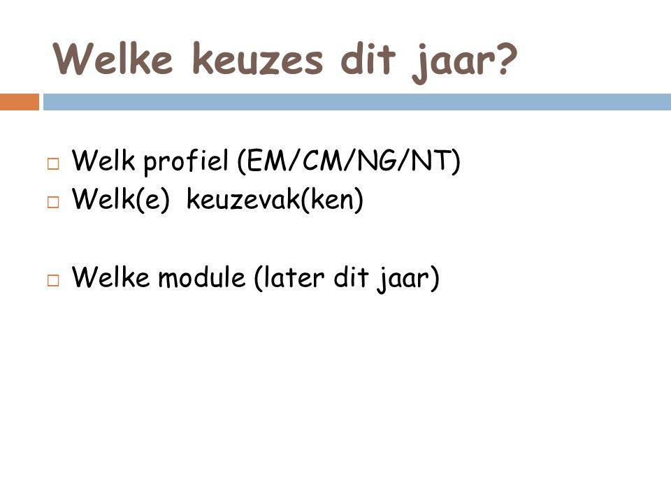 Welke keuzes dit jaar?  Welk profiel (EM/CM/NG/NT)  Welk(e) keuzevak(ken)  Welke module (later dit jaar)