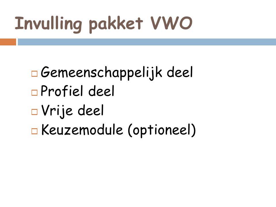 Invulling pakket VWO  Gemeenschappelijk deel  Profiel deel  Vrije deel  Keuzemodule (optioneel)