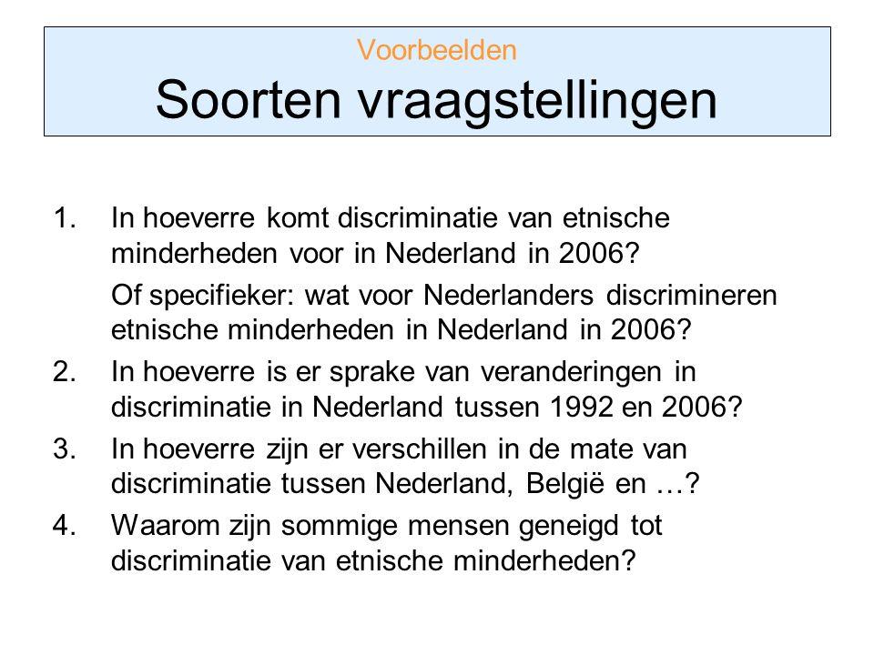 Voorbeelden Soorten vraagstellingen 1.In hoeverre komt discriminatie van etnische minderheden voor in Nederland in 2006? Of specifieker: wat voor Nede